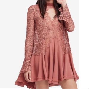Free People Tell Tale Mauve Cutout Lace Dress